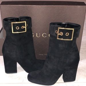Gucci black suede buckle heeled boots